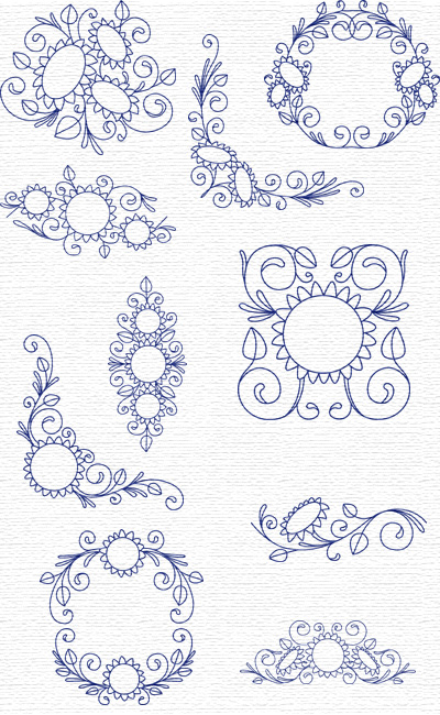 Sunflowers embroidery designs