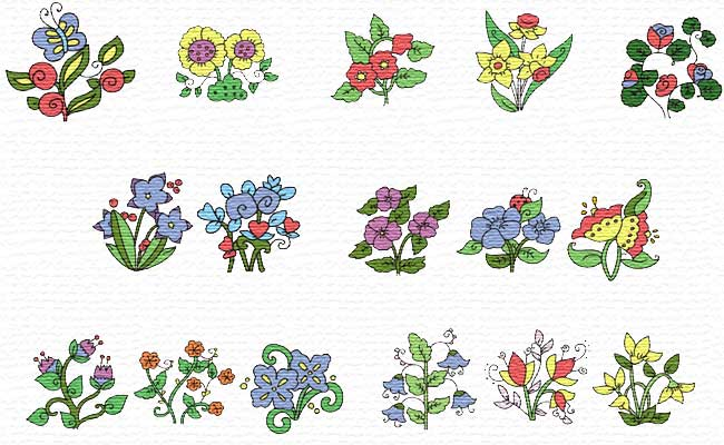 Flowers embroidery designs