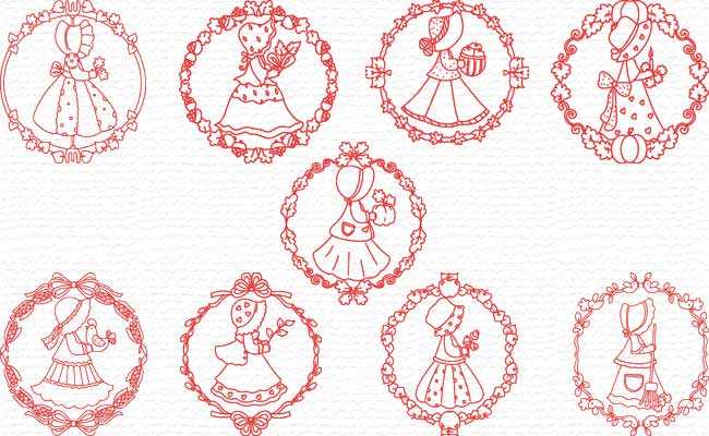 Decorative Fall Time Sunbonnet embroidery designs