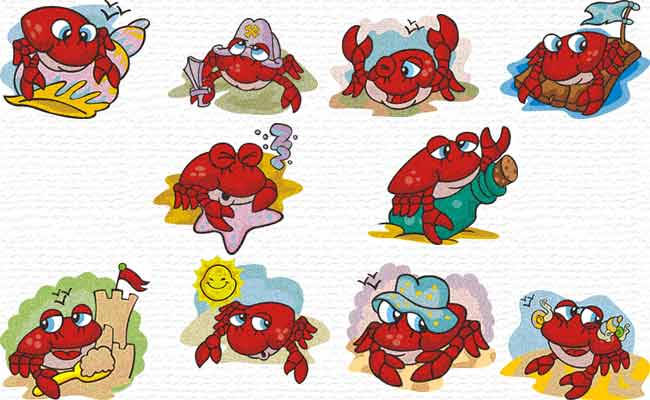 Crabs embroidery designs