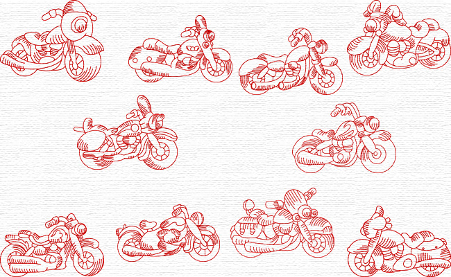 Motorcycles embroidery designs