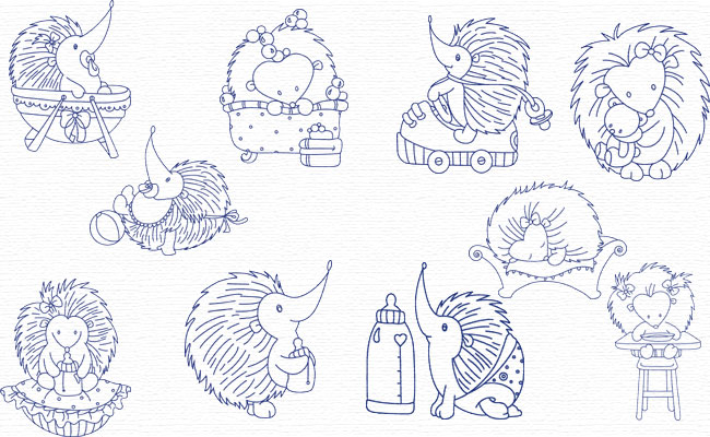Hedgehogs embroidery designs