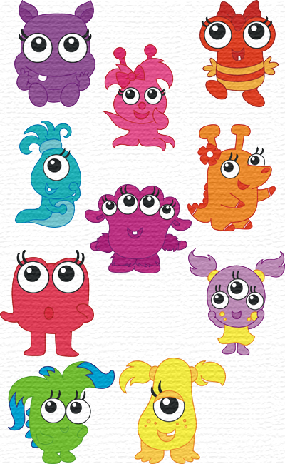 Cute Monster embroidery designs
