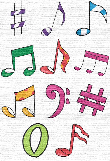 Musical Notes embroidery designs