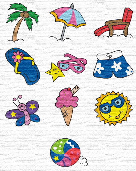 Summer Time embroidery designs