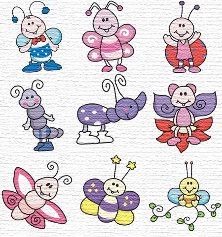 Bugs embroidery designs