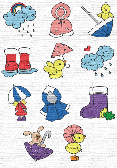 Rainy Day embroidery designs