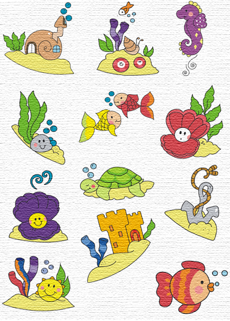 Sea embroidery designs
