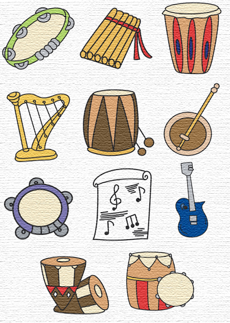 Music embroidery designs