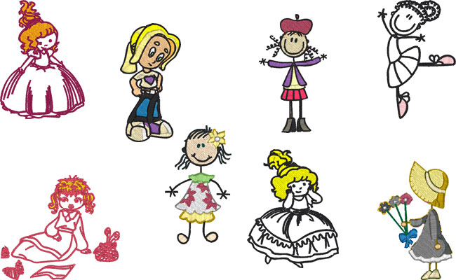 Girl embroidery designs