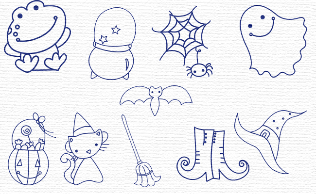 Bluework Halloween embroidery designs