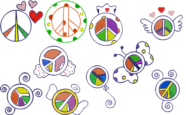 Peace embroidery designs