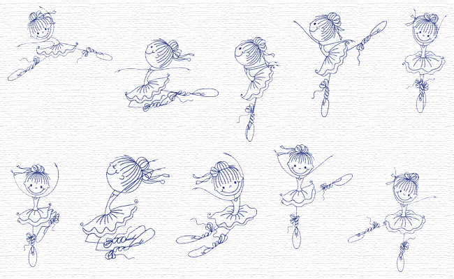 Ballerinas embroidery designs