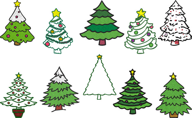 Xmas Trees embroidery designs