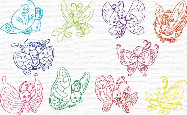 Butterflies embroidery designs