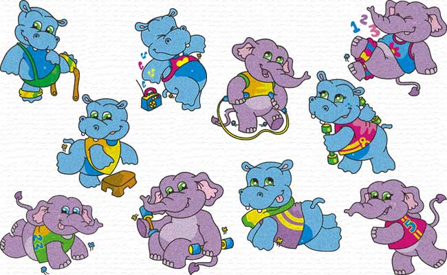 Elephant and Hippo embroidery designs