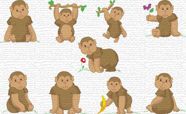 Monkey embroidery designs
