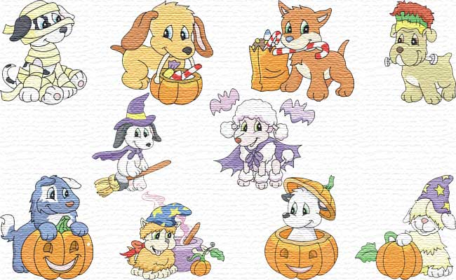 Halloween Puppies embroidery designs