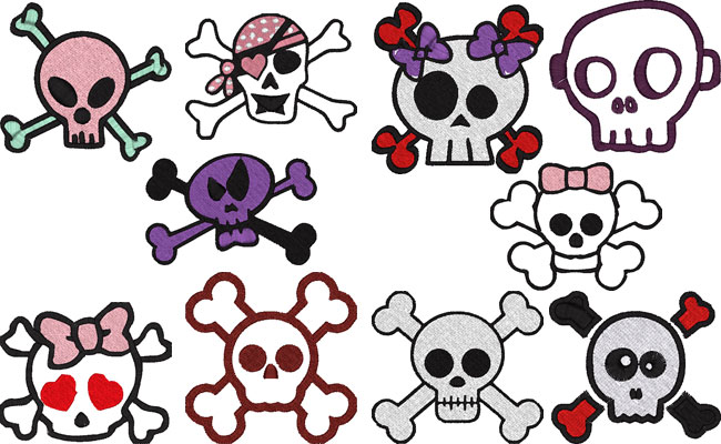 Skulls embroidery designs