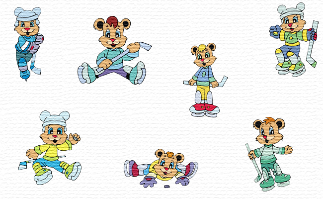 Ice Hockey Bears embroidery designs