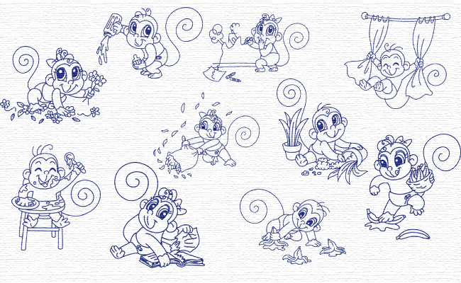 Monkeys embroidery designs