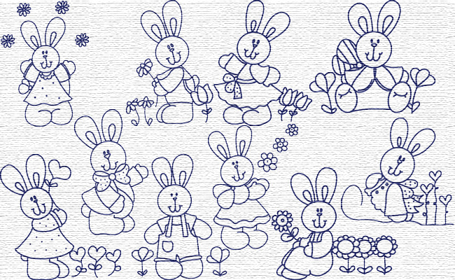 BW Easter Bunny embroidery designs