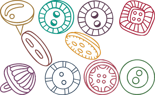 Buttons embroidery designs