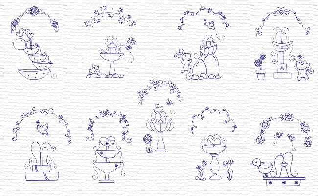 Bluework Spring Fontains embroidery designs