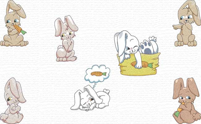 Cute Bunnies embroidery designs