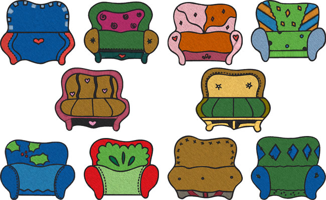 Couch embroidery designs