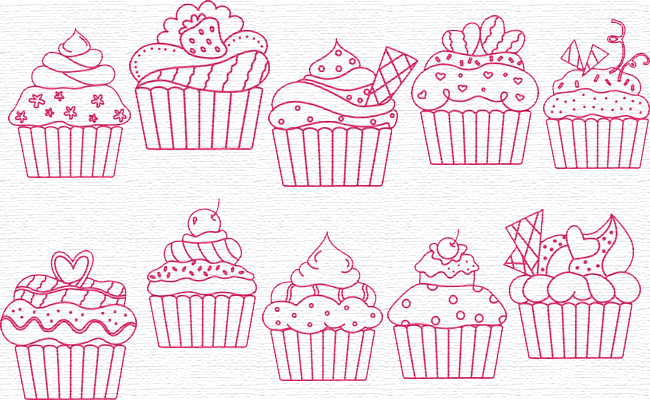 Cupcakes embroidery designs
