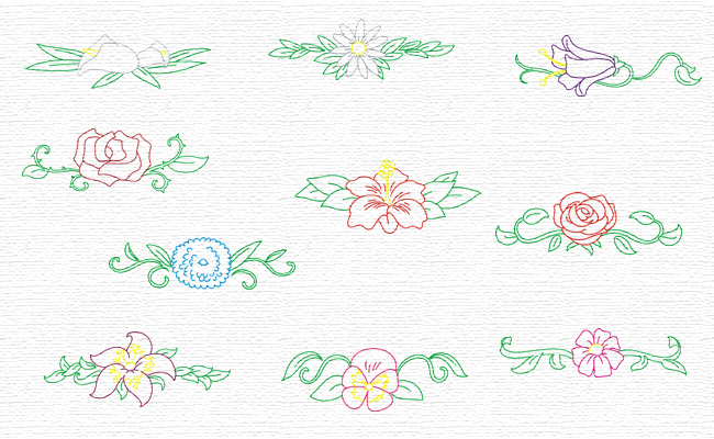 Flower Borders embroidery designs