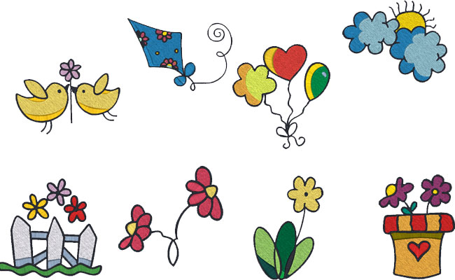 Spring Time embroidery designs