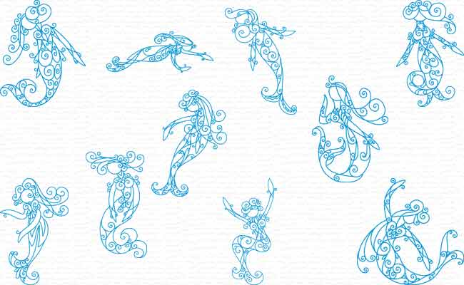 Mermaids embroidery designs