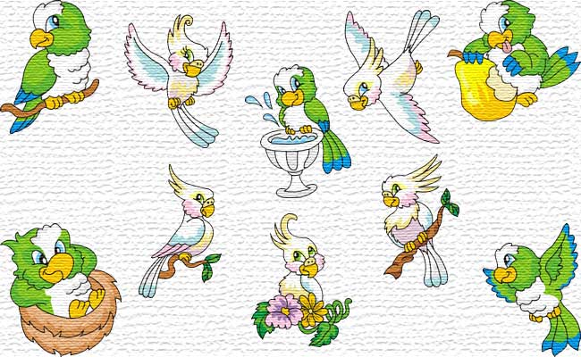 Parrots embroidery designs