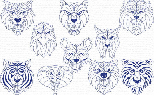BW Animals embroidery designs