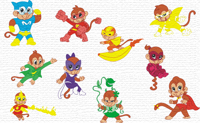 Super Monkeys embroidery designs