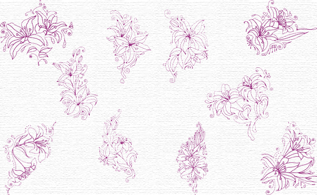 Lilies embroidery designs