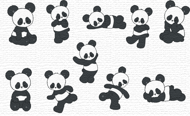 Panda embroidery designs