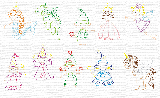 Fantasy embroidery designs