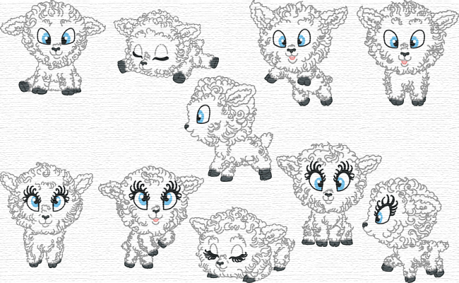 Cute Sheep embroidery designs