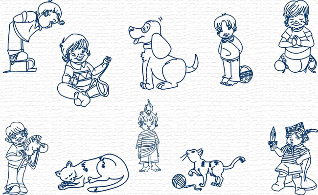 Bluework Kids & Friends embroidery designs