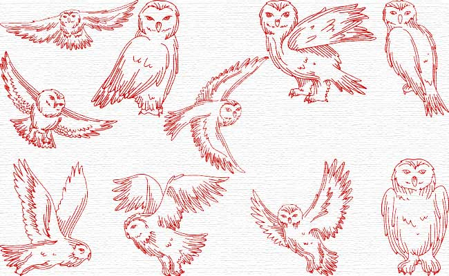 RW Owls embroidery designs