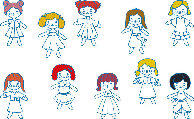 Rag Dolls embroidery designs