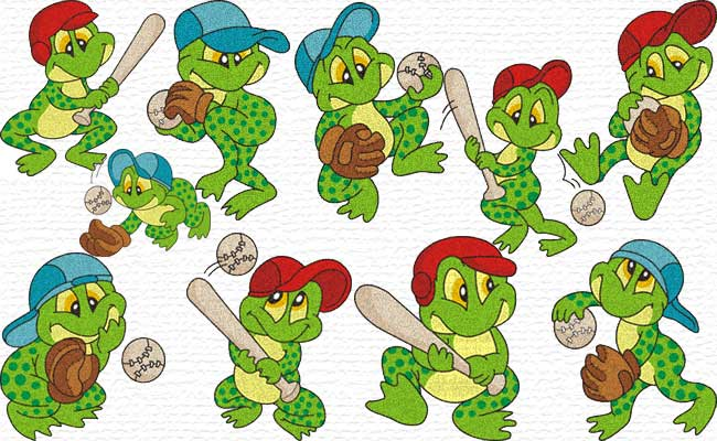 Basball Froggy embroidery designs