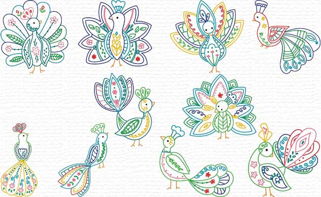 Decorative Peacocks embroidery designs
