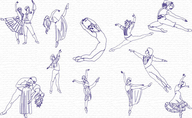 Bluework Dancers embroidery designs