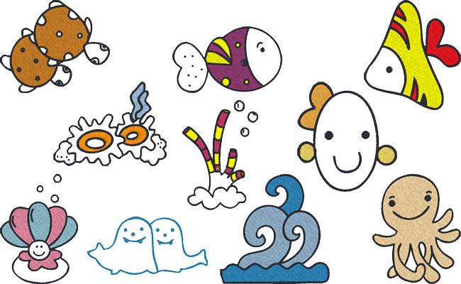 Sea Friends embroidery designs