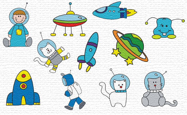 Space embroidery designs
