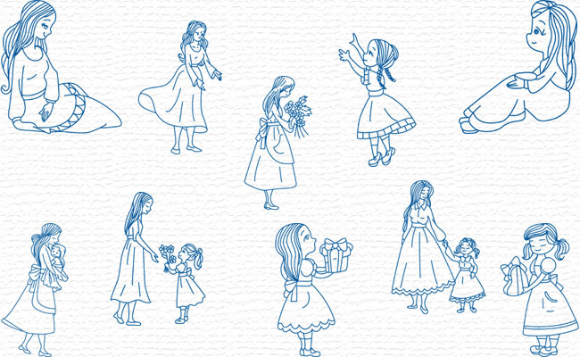 Bluework Mother & Daughter embroidery designs